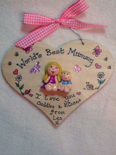 Mother's Day Gift 2 character Personalised 3d Heart shaped wooden Sign Plaque Any Phrasing